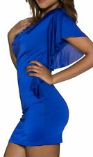 SeXy MiSS Damen Mini Kleid Long Shirt Dress 34/36/38 Volant Arm Long Top blau