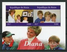 Benin 2017 CTO Princess Diana Prince William Harry 2v M/S Royalty Stamps