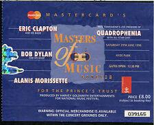 1996 Bob Dylan Eric Clapton Morissette Pete Townshend Concert Ticket Stub Hyde