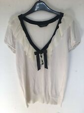 Dorothy Perkins Cream Ruffle Neck Bow Front Stretch Top Size 10