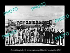 OLD LARGE HISTORIC PHOTO OF DONALD CAMPBELL WITH BLUEBIRD ON LAKE EYRE c1963 1