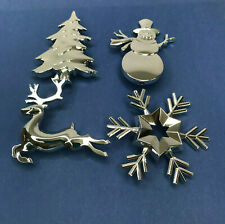 Christmas Tree Decorations Silver Tone Snowman Reindeer Snowflake
