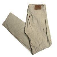 LEVIS Vintage 501 Mens Beige Straight Regular Jeans W31 L34 (F534)