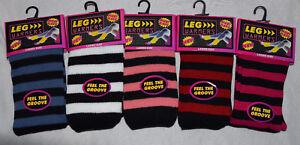 GIRLS TEEN 80'S DANCE WEAR STRIPED RIBBED LEG WARMERS LEGWARMER FANCY DRESS NEON
