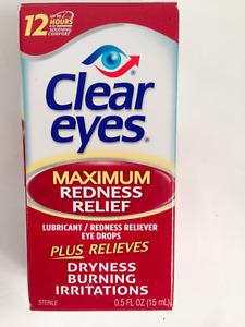 CLEAR EYES MAXIMUM REDNESS RELIEF EYE DROPS BURNING DRYNESS 15ml 0.5 fl.oz 10/22