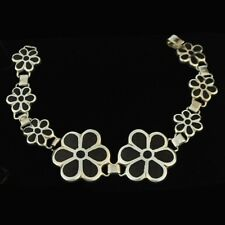 Martha Vargas Mahogany Inlaid Sterling Silver Floral Bracelet Mexican