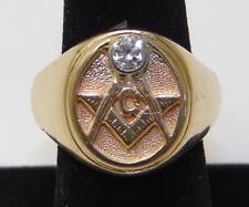 Vintage MASONIC RING 2-Tone 14K GOLD & DIAMOND Size13 - UNIQUE! - Free Shipping!