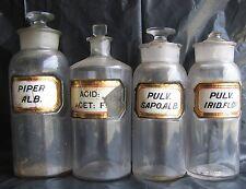 Lot 4x Label Under Glass Apothecary Jars ACID ACET PULV SAPO ALB PIPER IRID FLOR