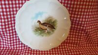 "P M Bavaria Game Bird Plate Embossed Scalloped Antique White 8 3/4"" Cabinet"
