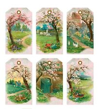 6 Spring/Summer Flower Trees Hang Tags Scrapbooking Paper Crafts (382)