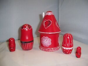 Valentine House Family Hand Painted stacking nesting doll set