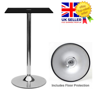 1m Tall Square Black Tempered Glass Dining Table Chrome Modern Kitchen Dining