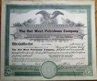 Oil: 'Out West Petroleum Company' 1919 Stock Certificate - Colorado CO