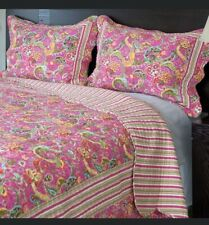 Quilted Coverlet and Pillow Shams Set Pink Paisley Double/Queen Blanket Nip