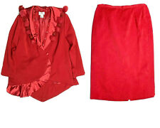 Lily Lee Womens 20W Red Formal Evening Suit Outfit Skirt & Jacket Set Stunning!