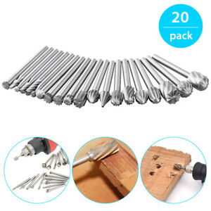 20Pcs HSS Dremel Routing Wood Milling Rotary File Cutters Carving Tools UK Stock