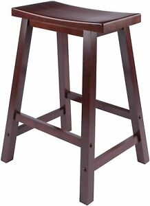 New Winsome Satori 24 in Solid Wood Saddle Counter Bar Stool Brown 13 lbs