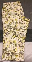 Lane Bryant yellow and grey floral crop jeans Size 18 cotton blend CASUAL