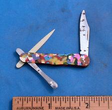 ANTIQUE Czechoslovakia Folding Miniature Celluloid Knife w/ Spoon & Pick