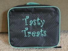 """Thirty One Cool Case Thermal Lunch Bag in Navy with AQUA """"Tasty Treats"""" NWOT NEW"""