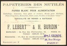 PARIS RUE MONGE CARTE VISITE GRENON LEBERT & BURDIN PAPETERIE DES MUTILES