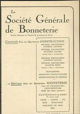 TROYES STE GENERALE DE BONNETERIE LAINE COTON FIL SOIE PUBLICITE 1927