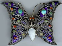 *VINTAGE MMA CHINESE STYLE GOLD WASH STERLING JEWELED ENAMEL BUTTERFLY PIN*