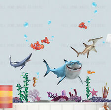 FINDING NEMO Sharks Wall Stickers REMOVABLE Art Paper Bathroom Childs Room Decor