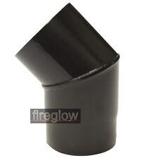 """5"""" (125mm) diameter 45 degree Elbow Bend Vitreous Enamel Flue Pipe Black"""