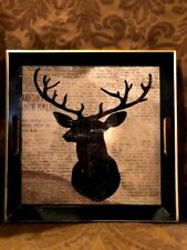 Lacquered Black and Gold Stag Head Serving Tray Statement Piece
