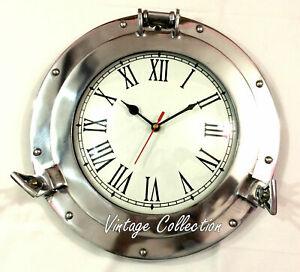 Vintage Aluminium Porthole Wall Clock Nautical Antique Home Decor Wall Clock