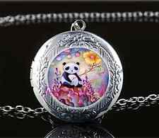 Cute Baby Panda Photo Cabochon Glass Tibet Silver Locket Pendant Necklace