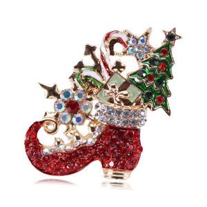 Betsey Johnson Red Enamel Crystal Christmas Boot Tree Brooch Pin Xmas Gift