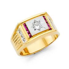 14k Yellow Gold Round CZ Stone Fashion Engagement Ring