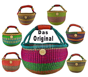 Orig. Afrika Bolga Korb Einkaufskorb Marktkorb Stabil Leder Produktnr.A12