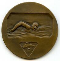FRENCH SPORTS ART DECO SWIMMER MEDAL WITH BY DEMEY 50MM 53G