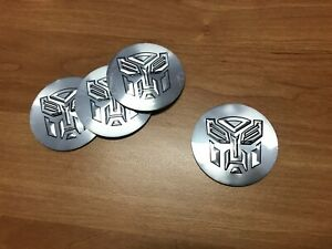 transformers logo adesivo cerchi in lega auto  stemma set 4 sticker argento