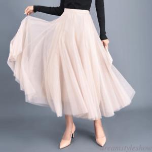 Princess Women's Lady Tulle High Waist Pleated Beach Maxi Party Long Dress Skirt