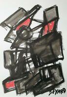SEVARD Abstrakte Komposition Gemälde Zeichnung A4 Original Signiert Unikat N518