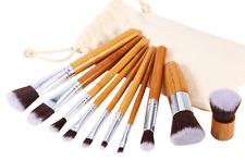 10Pc Makeup Brush Bamboo Wood Brushes Set with Bag