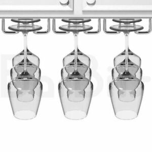"""BarBits Chrome Plated Wine Glass Rack - 10"""", 16"""", 24"""" Kitchen Glassware Rail"""