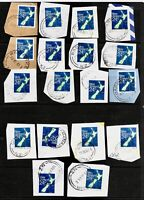 18X New Zealand, VARIOUS STAMPS ON PAPER, WITH INTERESTING PMARK, FU