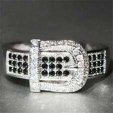 Fashion Silver Black Topaz Ring Wedding Bridal Men Women Cool Jewelry Size 9