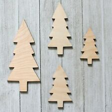 Lot of 4 Trees Pine Forest Unfinished Wood Cutout Shapes Ready to Paint Crafts