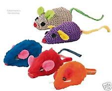 5 Plüsch-Mäuse bunt mit Katzenminze Katzenspielzeug