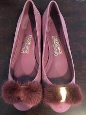 Salvatore Ferragamo Varina Mink Fur-Bow Suede Ballerina Flat Pink 7B