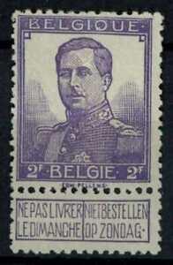 Belgium 1912 SG#142, 2f Violet MH + Label Cat £38 #E38343