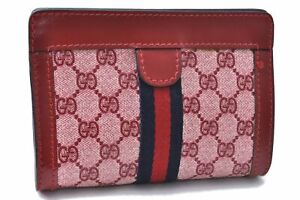 Authentic GUCCI Sherry Line Pouch GG PVC Leather Red B8548