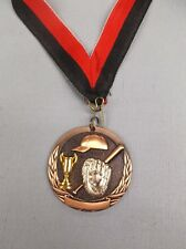 team lot of 9 Bronze Baseball cup medals with black/red neck drape trophy