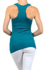 New Women's Juniors Casual Stretchy Summer Basic Ribbed Racerback Tank Top